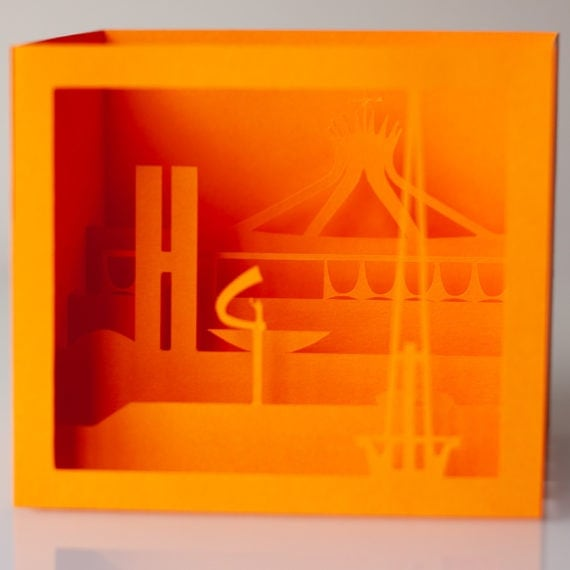 Cartão Brasília 3D – Laranja